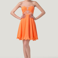 Orange Strapless Beaded Homecoming Dress