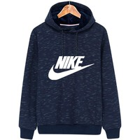 NIKE autumn and winter new hooded plus velvet sports and leisure pullover sweater Blue