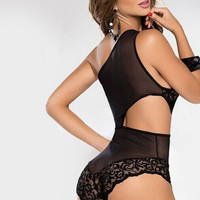 Black Cut Out Sheer Mesh Lace Chemise
