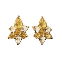 Monica Rich Kosann Yellow Gold Star Stud Earrings - Sapphire Earrings - ShopBAZAAR