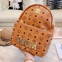 MCM Trending Woman Men Leather Travel Bookbag Shoulder Bag Backpack Brown
