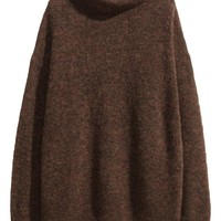 Mohair-blend polo-neck jumper