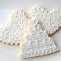 Wedding Cookie Favor Cake Iced Sugar Cookie Heart Shabby Chic White