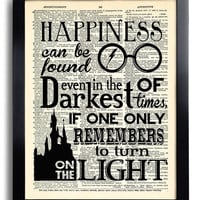 Harry Potter Happiness can be found Quote  Potter POSTER, Print on DICTIONARY Paper, Kid Room Decor, Book Page print 527