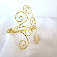 Gold brass armlet, tribal upper arm cuff, above the elbow  cosplay bracelet