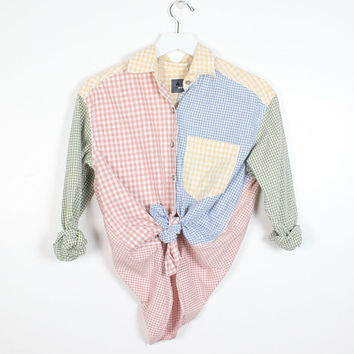 Vintage 1990s Patchwork Gingham Plaid Print Shirt Liz Wear Soft Grunge 90s Pastel Check Plaid Color Block Picnic Long Sleeve Blouse Top S M