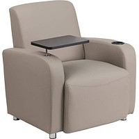 Flash Furniture Gray Leather Guest Chair with Tablet Arm Chrome Legs