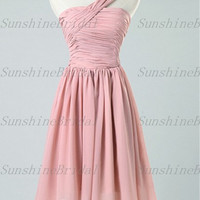 2014 New A-line One-shoulder Sleeveless Knee-length Chiffon Pleat Short Bridesmaid Dresses Prom Dresses Evening Dresses Party Dresses
