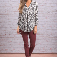 Never Too Busy Blouse, Gray-White