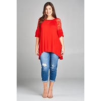 Hi Lo Top with Lace Bell Sleeves