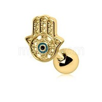 All-Seeing Hamsa Hand Cartilage Earring