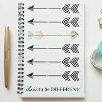 Writing journal, spiral notebook, bullet journal, cute journal, diary, sketchbook, arrows, blank lined grid - Dare to be different