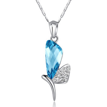Dragonfly Princess Swarovski Elements Crystal Pendant Necklace - Blue