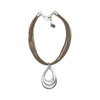 STERLING SILVER MULTI TEAR DROP RING W/LEATHER NECKLACE -Nickel/Brown
