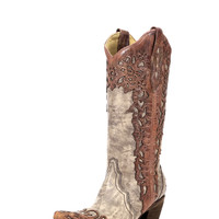Corral Womens Sand/Cognac Laser Overlay Boot - A2665