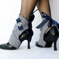 Glamccessories Fancy Houndstooth Blue Spats by theglambox on Etsy