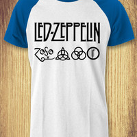Led Zeppelin Symbol & Logo Baseball Raglan Tee - zLi Unisex Tees For Man And Woman / T-Shirts / Custom T-Shirts / Tee / T-Shirt