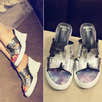 Stylish Design Summer Wedge Peep Toe Thick Crust Waterproof Leather Casual Shoes Sandals [6050349569]