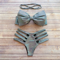 Amazing Bow Bikini Swimwear with Brazilian Style Strappy Cut Out Bottoms in Stunning Iridescent Holographic Metallic Fabric