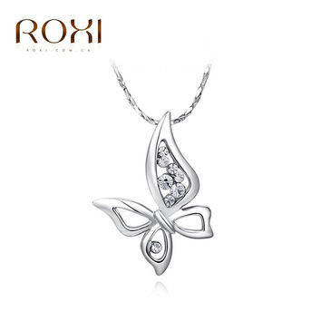 ROXI New Year Gift Classic PENDANT Fashion Calabash Sales Lucky NECKLACE Butterfly Pendant for Christmas Gift