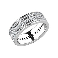 Extraordinary Love - Women's Stainless Steel Three Level Clear CZ Statement Eternity Wedding Ring