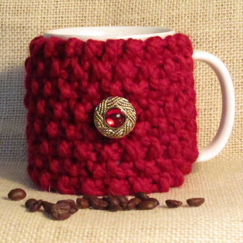 Red Coffee Cozy, Handmade, Washable Wool Blend