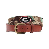 University of Georgia Camo Needlepoint Belt by Smathers & Branson