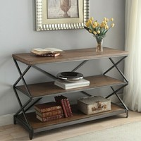 Fabio collection oak finish wood top and antique black metal frame sofa table