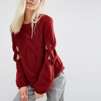 Oneon Hand Woven Jumper with Cable and Open Lattice Sleeve at asos.com