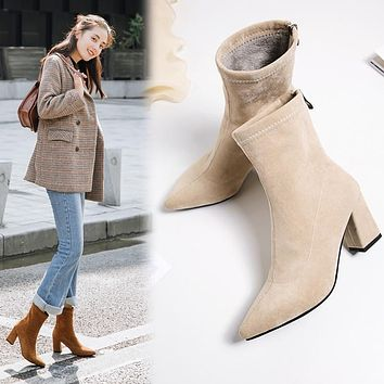 Fashion Spring Ankle Elastic Sock Boots Chunky High Heels Stretch Women Autumn Booties Pointed Toe Women Pump