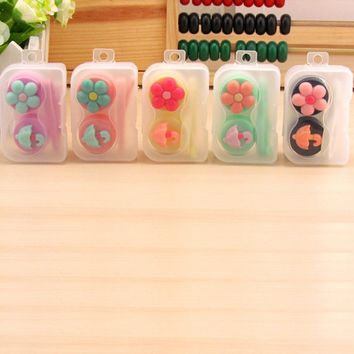 1PCS Cartoon Cute plum Glasses double Contact Lenses Box Candy color Contact lens Case for Eyes Care Kit Holder Container Gift