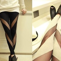 Cotton Mesh Stretch Render Leggings
