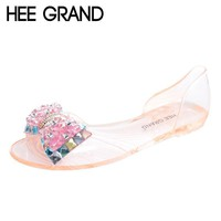 HEE GRAND Women Sandals Summer Style Bling Bowtie Peep Toe Jelly Shoes Woman Crystal F