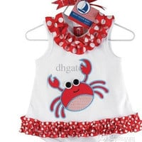 Free Shipping DOOMAGIC Romper girl skirts rompers white Red lace Crab printing toddler clothes