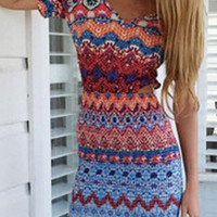 Multicolor Folk Printed Spaghetti Strap Bodycon Dress