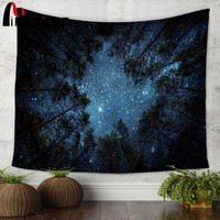 Miracille Beautiful Night Sky Wall Tapestry Home Decorations Wall Hanging Forest Starry Night Tapestries For Living Room Bedroom