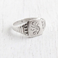 Vintage Sterling Silver Letter S Signet Ring - Antique Size 7 3/4 Art Deco 1930s Monogrammed S Signed OB Ostby & Barton Initial Jewelry