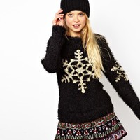 ASOS Fluffy Sweater With Snowflake