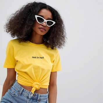 Adolescent Clothing t-shirt with rest in hell slogan at asos.com