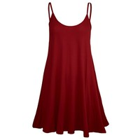 Forever Womens Plain Sleeveless Strappy Swing Dress