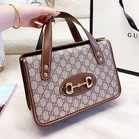 GUCCI Popular Women Shopping Bag Leather Retro Handbag Tote Satchel