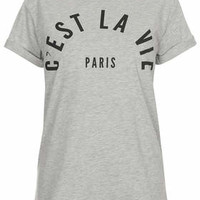 C'est La Vie Slogan Tee by Tee and Cake - Grey Marl