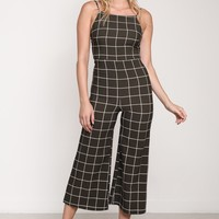Grid Wide Leg Jumpsuit