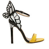 Yellow Pu High-heeled Shoes with Butterfly