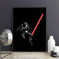 Original Black Star Wars Darth Vader Lightsabers Pop Movie Poster Prints Abstract Funny A4 Large Wall Art Canvas Painting Gifts