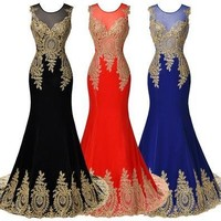 Sleeveless Golden Appliques Ball Gown Evening Prom Party Dress [9305609159]