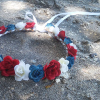 red white and blue Rose, crown, headband, Flower, 4th of july, Halo, Festival Wear, Coachella, flower girl, bridesmaid, bridal,  patriotic