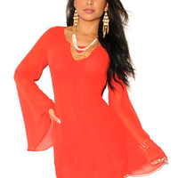 Orange Bell Sleeve Strappy Cut-Out Back Mini Dress