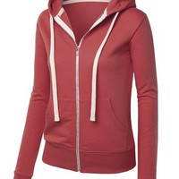 MBJ Womens Active Soft Zip Up Fleece Hoodie Sweater Jacket