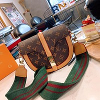 Hipgirls Louis Vuitton LV New Lady Classic Letter Print Stitched Saddle Bag Crossbody Bag